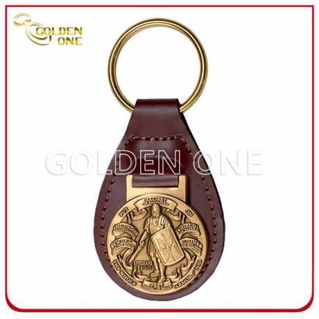 Personalized Leather Key Fob with Antique Brass Metal Embossed Emblem