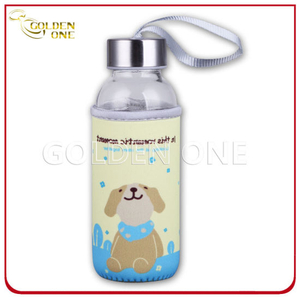 Full Color Printed Neoprene Glass Bottle Holder with Hand Strap