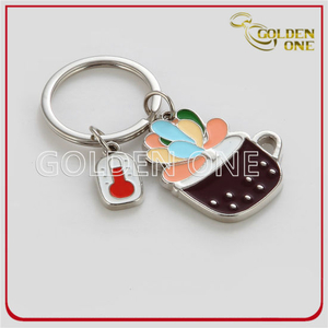 Eco Friendly Plant Shaped Metal Keyring with Enamel Logo
