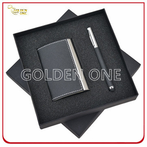 Promotion Gift Leather Card Case and Click Pen Gift Set
