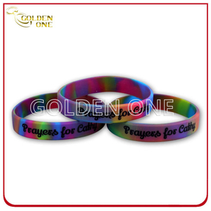 Personalized Colour Mixture Silk Screen Embossed Rubber Wristband