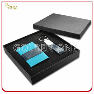 Business Leather Card Holder and Key Ring Gift Set