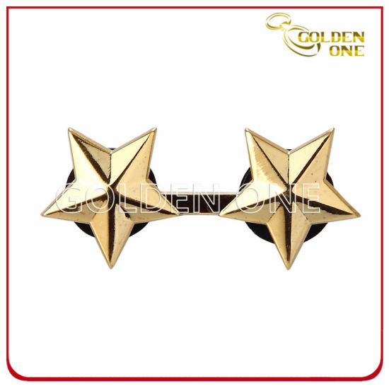 Customized Die Stamped Engraved Gold Plated Metal Badge