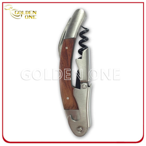 Modern Stainless Steel Wine Corkscrew with Wooden Handle