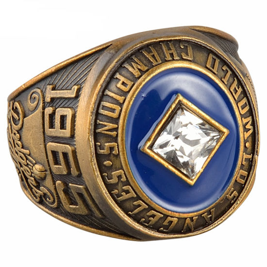 Customized Gold Plated Metal Souvenir Championship Ring with Bling