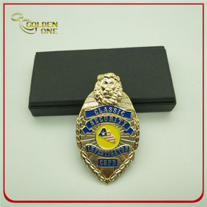 Gold Plated Lion Classic Security Metal Police Badge
