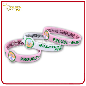 Superior Quality Debossed Printed Concave Design Rubber Bracelet