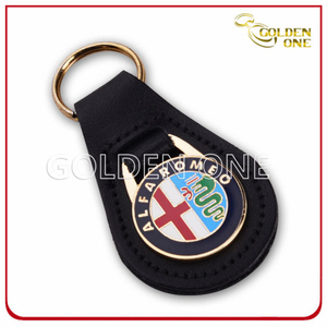 Custom Colorful Cheap Price Metal Key Chain with Leather