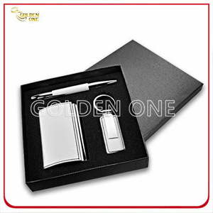 Polished Plating Metal Card Holder and Keychain Gift Set