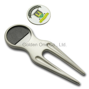 Custom Metalwith Ball Marker Golf Divot Repair Tool