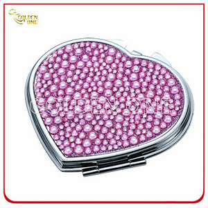 Creative Crystal Stone Heart Shape Chrome Makeup Mirror