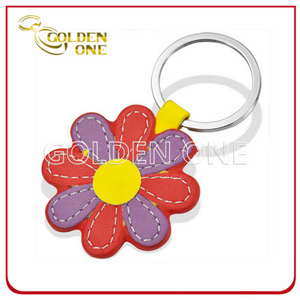 Well Design Promotion Colorful Flower Shape Leather Keychain