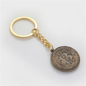 Custom Design Antique Gold Bitcoin Metal Souvenir Keychain