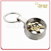Fashion Design Two -Tone Finished Tyre Shape Metal Keyring