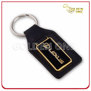 High Quality Embossed Logo PU Leather Keychain