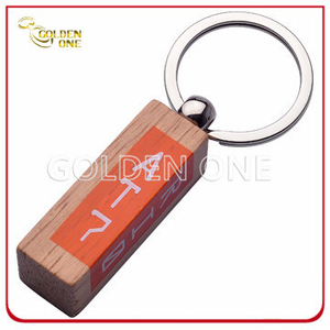 Custom Color Printed Silkscreen Printing Wooden Keychain