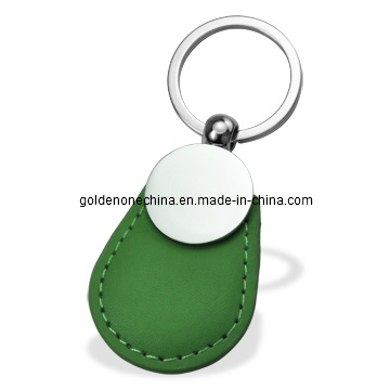 Promotion Double Ring Design Genuine Leather Key Chain