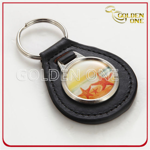 Round Shape Customed Metal&Leather Key Fob