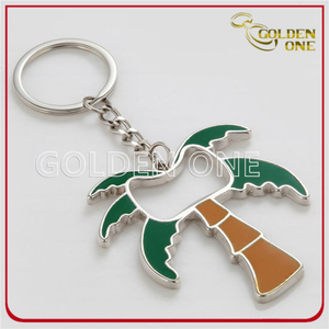 Coconut Palm Style Metal Bottle Opener with Key Ring
