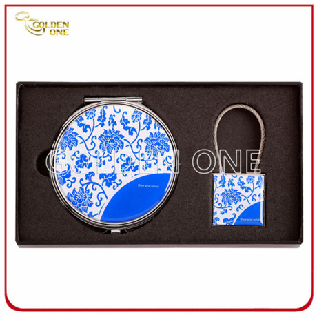Classical Makeup Mirror and Keychain Gift Set