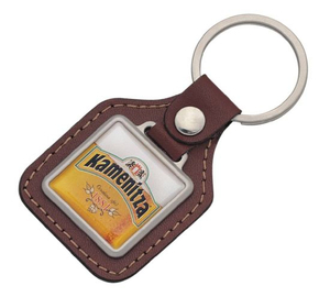 Custom Style Printed Epoxy Square Leather Key Tag (LK127)