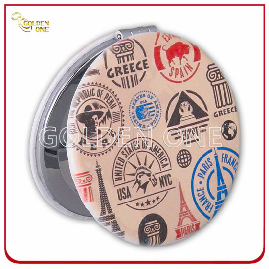 Fashion Design Customized Printed Leather Cosmetic Mirror with Paris Gift
