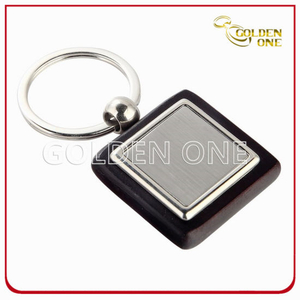 Promotion Gift Square Blank Wooden Keyring with Metal