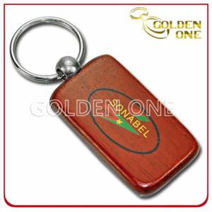 Custom Rectangular Silk Screen Printed Wooden Keychain