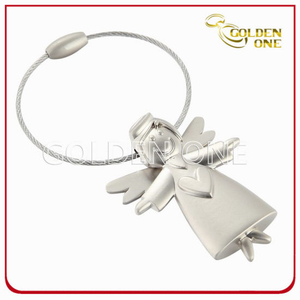 Customized 3D Pretty Angel Shape Metal Keyring