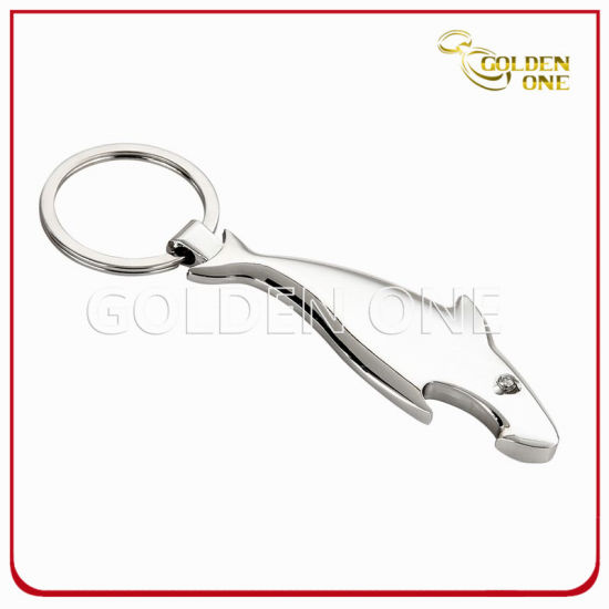 Custom Shark Shape Zinc Alloy Keychain with Bottle Opener
