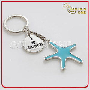 Enamel Starfish Shiny Nickel Metal Keyring for Promotion