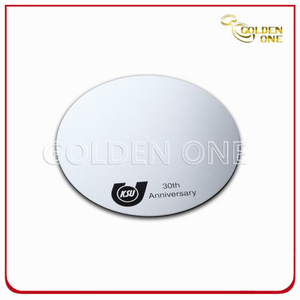Screen Print Anodized Silver Round Shape Aluminium Coaster