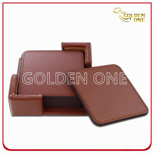 High Quality Promotion Gifts PU Leather Coaster Set