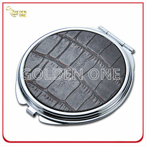 Fashion Chrome Plated Make up Mirror with Leather Cover
