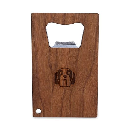 Customized Engraved Logo Stainless Steel Bottle Opener with Wooden Handle