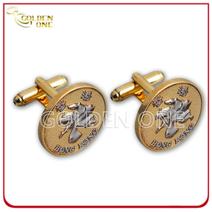 Personalized Design Metal Embossed Gold Plated Cuff Link