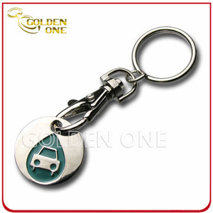 Metal Nickel Plated Trolley Token Key Chain for Business Gift
