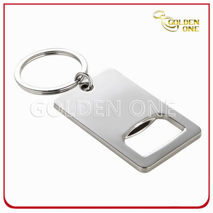 New Design Nickel Plated Metal Key Ring with Bottle Opener