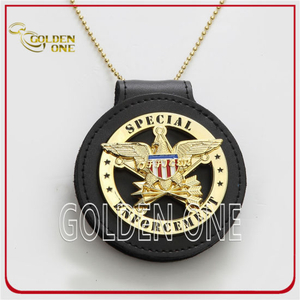 Gold Plated Custom Metal Marshal Badge with Genuine Leather Holder