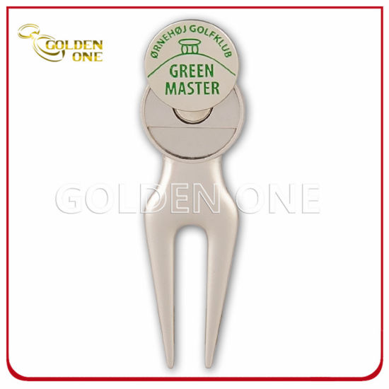 Matte Nickel Golf Repair Divot Tool with Magnetic Ball Marker