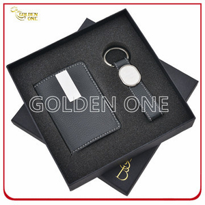 Luxury Leather Card Holder and Key Chain Gift Set