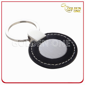 Promotional Best Seller Round Shape PU Leather Keyring