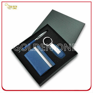 Promotion Leather Card Case and Keychain Gift Set