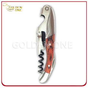 Durable Stainless Steel Wine Opener with Wooden Handle