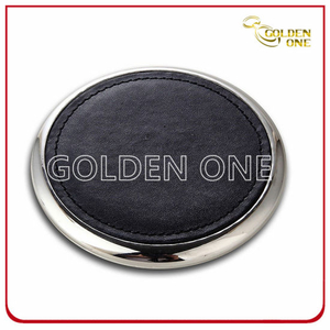 Promotion Round Shape PU Leather Coaster with Metal Bottom