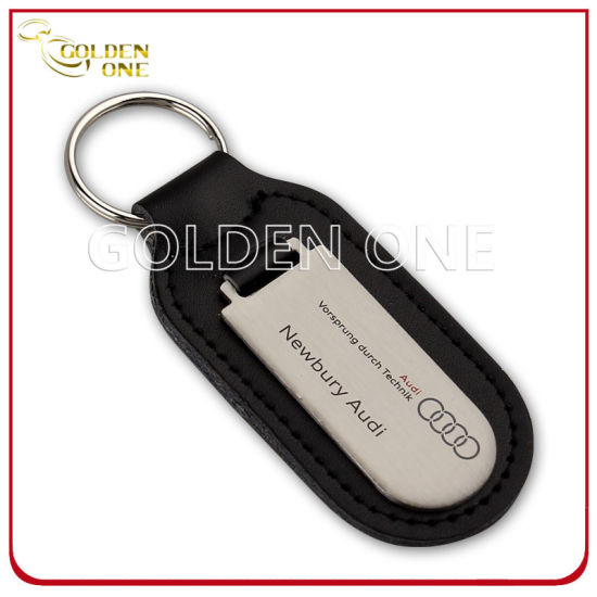 Promotion Gift Leather Key Fob with Blank Brush Metal