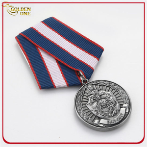 Hot Sale Cheap Custom Antique Silver Plated 3D Logo Metal Stamping Military Emblem with Regular Ribbon for Commemoration Gift