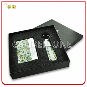 Fancy Design Leather Card Case and Key Ring Executive Gift